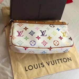 Auth lv pchette multi color
